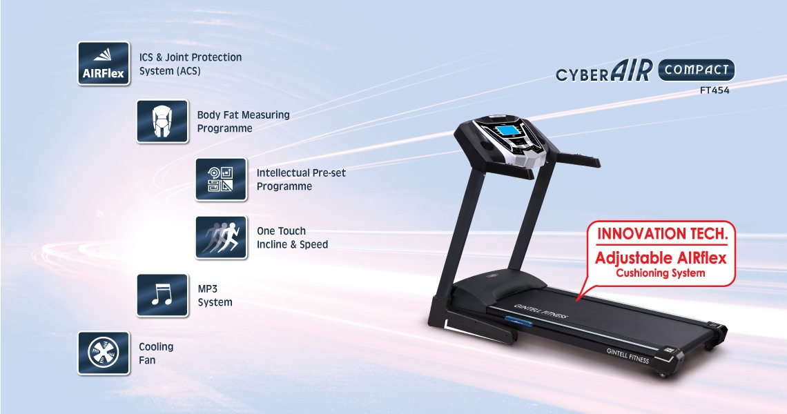 Gintell CyberAIR Compact Treadmill FT454  Fitness Equipment