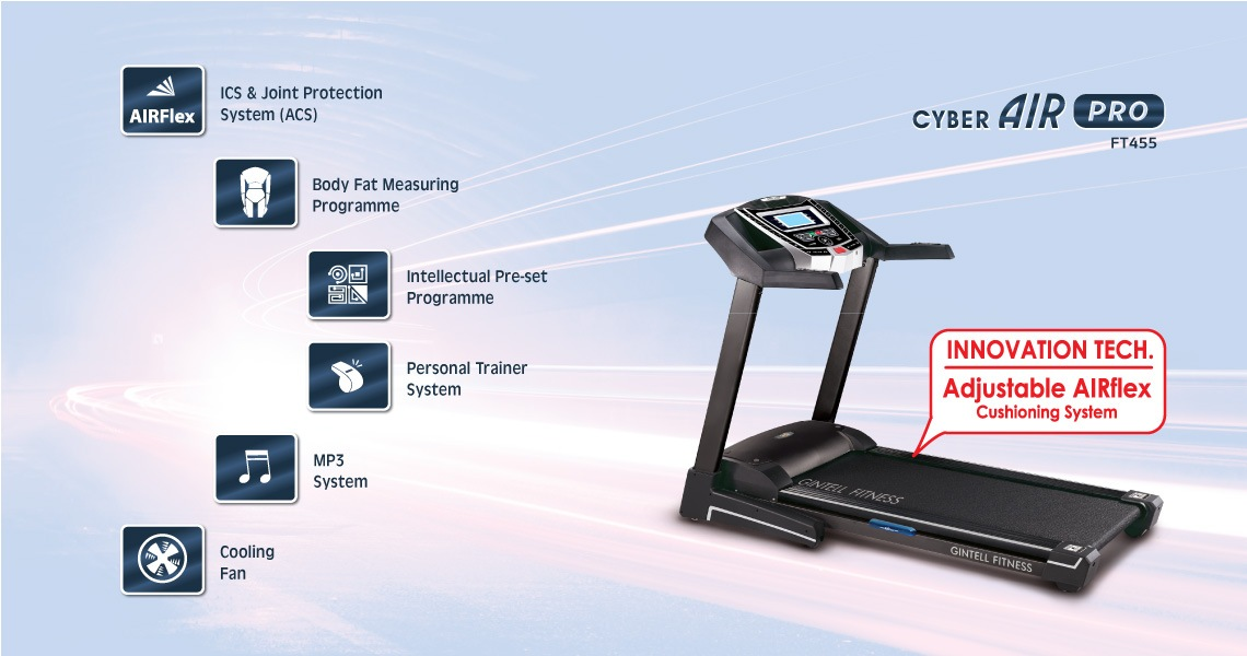 Gintell CyberAIR Pro Treadmill FT455 Fitness Equipment